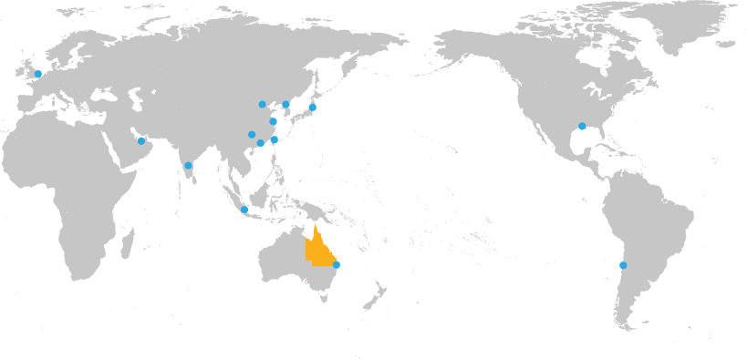 Map of the world highlighting the TIQ offices in 13 locations