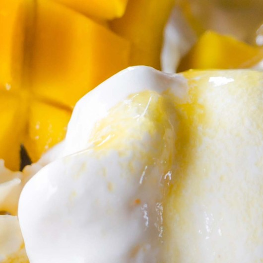 Mango and ice cream