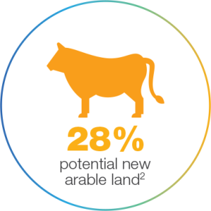 Infographic of 28% potential new arable land